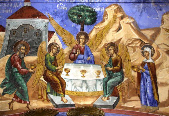 Праотец Авраам принимает трех странников у дубравы Мамре. Троица Ветхозаветная.