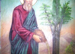 Праведный Лот поливает дерево, из которого сделают Животворящий  Крест