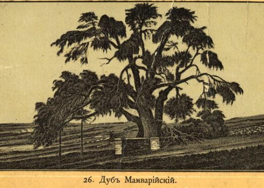 Так выглядел Мамрийский дуб в конце 19 века.