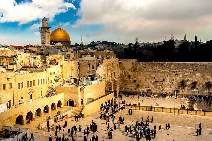 Панорама мечети Скалы и стены Плача