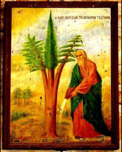 Праведный Лот поливает триединое дерево – главная икона монастыря Св. Креста в Иерусалиме.