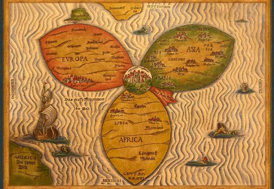 Карта-трилистник с Иерусалимом в центре. Ганновер, Германия. 1581 г.