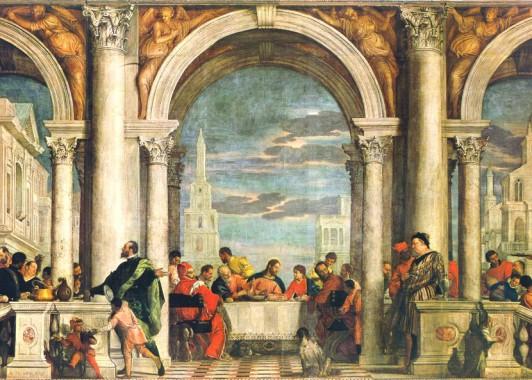 """Паоло Веронезе """"Пир в доме Леви"""" ( Тайная вечеря ) – так представлял художник эпохи Возрождения последнюю встречу Христа и его учеников."""