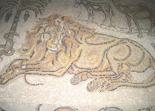 Изображение льва. Мозаика пола монастыря Преп. Герасима