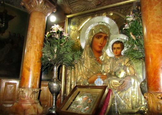 Чудотворная икона Иерусалимской Божьей Матери в Храме Успения Богородицы.